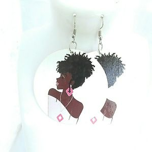 Natural hair wooden dangle Earrings